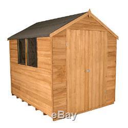 8x6 WOOD GARDEN SHED DOUBLE DOOR APEX ROOF & FELT