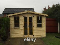 8x6 Yorkshire Summer house Garden Office Log Cabin Shed Heavy Duty T&G Treated