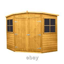 8x8 CORNER GARDEN SHED TONGUE & GROOVE CLAD CORNER DOUBLE DOORS WINDOWS NEW 8FT