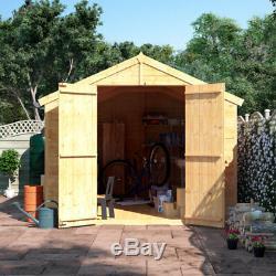 8x8 Tongue & Groove Garden Shed Windows Double Door Apex Wooden Tool Storage