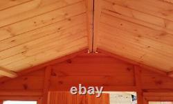 8x8 Wooden Summerhouse Inc 2ft Front Veranda FULLY T&G Outdoor Garden Shed