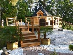 9m2 BBQ KOTA GRILL Log Cabin in 44mm logs Summerhouse Garden Shed Structure