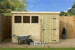 9x7 Garden Shed Shiplap Pent Tanalised Windows Pressure Treated Door Right