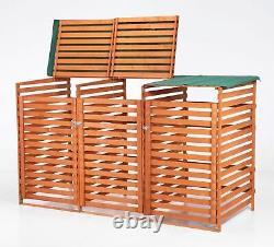 BIRCHTREE Wooden Garden Triple Shed Wheelie Bin Dustbin Store Cover Storage Box