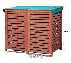 BIRCHTREE Wooden Recycling Wheelie Bin Store Cover Garden Storage Dustbin 2 Shed