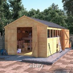 BillyOh Expert Wooden Workshop Wide Double Door Garden Shed with Dual Entrance