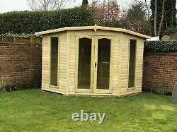 Corner summer house garden office treated tanalised shed t&g delivery 8-14 weeks