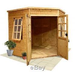 design corner garden large wooden summer house cabin workshop shed tg floor 7x7