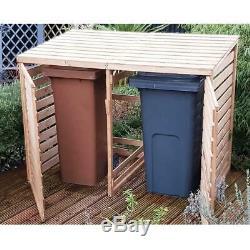 Double Bin Store Cupboard Shed Wooden Garden Wheelie Storage Outdoor Dustbin New
