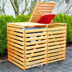Double Wheelie Bin Storage Wooden Store Outdoor Garden Rubbish Dustbin 2 Shed