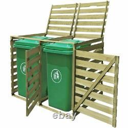 Double Wheelie Bin Wooden Storage Shed Gardage Bins Lid Garden Outdoor Rubbish