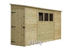 Empire 2800 Pent Garden Shed 9X3 10X3 12X3 14X3 TANALISED T&G 3 WINDOWS DOOR LEF