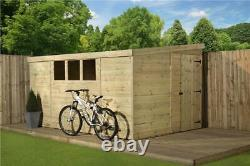 Empire 3000 Pent Garden Shed 14X7 PRESSURE TREATED T&G 3 LOW WINDOWS DOOR RIGHT