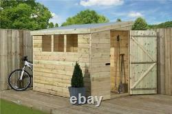 Empire 3000 Pent Garden Shed 8X7 SHIPLAP T&G TANALISED 3 LOW WINDOWS DOOR RIGHT
