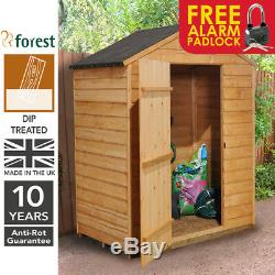 Forest 5x3 Dip Treated Apex Windowless Wooden Garden Tool Shed FREE PADLOCK