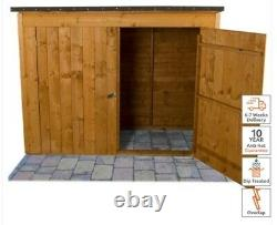 Forest 6x3 Timber Wooden Overlap Pent Outdoor Storage Shed Bike BIY Garden Patio
