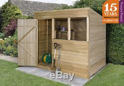 Forest 7x5 Pressure Treated Pent Shed Outdoor Patio Garden Tool Storage 7FT 5FT