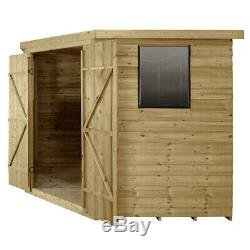 Forest 8'x8' Wooden Overlap Garden Corner Shed Pressure Treated Storage