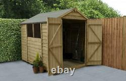 Forest Garden Overlap Pressure Treated 8x6 Apex Shed Double Door