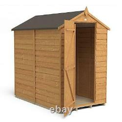 Forest Overlap Dip Treated 6x4 Apex Wooden Garden Shed No Window