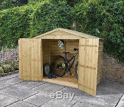 Forest Wooden Bike Shed Pressure Treated New Wood Double Door Garden Storage 7x3