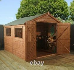 GARDEN SHED 10FT x 8FT SUMMER HOUSE PRESSURE TREATED DOUBLE DOOR APEX
