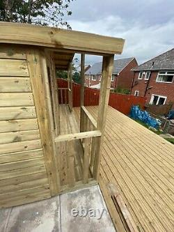 GARDEN SHED SUMMER HOUSE TANALISED SUPER HEAVY DUTY 14x10 19MM T&G. 3X2