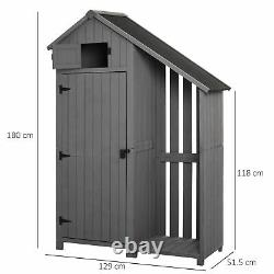 Garden Outdoor Wooden Tool Storage Shed With 3 Shelves, Firewood Rack Grey