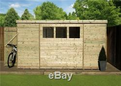 Garden Shed 10x5 Shiplap Pent Roof Windows Pressure Treated Door Left End