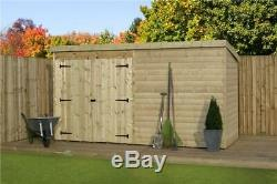 Garden Shed 10x7 Shiplap Pent Roof Pressure Treated Tanalised With Double Door