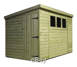Garden Shed 10x8 Pent Shed Tongue And Groove 3 Windows Pressure Treated