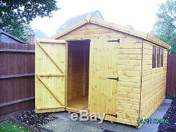 Garden Shed 10x8 apex 13mm t+g cladding 3x2 framework 1 thick planking floor