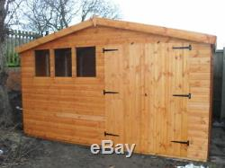 Garden Shed 12x10 Apex d/d 13mm t+g 3X2frame 1thick floor free erect