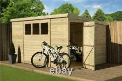 Garden Shed 12x5 Shiplap Pent Roof Tanalised Windows Pressure Treated Door Right