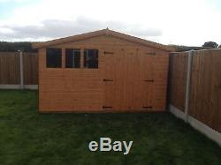 Garden Shed 12x8 apex double doors 13mm kiln dried t+g 3X2 frame 1thick floor