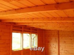 Garden Shed 14x8 Pent 3ft door 13mm t+g 3X2frame 1thick floor free erect