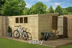 Garden Shed 14x8 Pent Tongue & Groove 3 Low Windows Pressure Treated Door Right