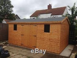 Garden Shed 16x8 Apex extra height 13 mm t+g 3 X 2 frame 1thick floor