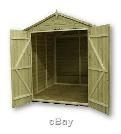 Garden Shed 6x6 Shiplap Apex Tanalised Pressure Treated With Window Double Door