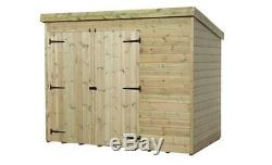 Garden Shed 7x5 Shiplap Pent Shed Pressure Treated Tanalised Double Door Left