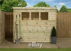 Garden Shed 8x5 Shiplap Pent Roof Tanalised Windows Pressure Treated Door Right