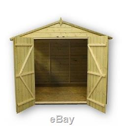 Garden Shed 8x8 Shiplap Apex Tanalised Pressure Treated With Double Door