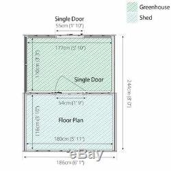 Garden Shed Building Outdoor Traditional Apex Greenhouse Combi 8' x 6