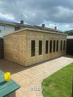 Garden Shed Summer House Tanalised Ultimate Heavy Duty 20x10 22mm T&g. 3x2