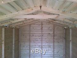 Garden Shed Summerhouse Tanalised Heavy Duty 12x8 13mm. 3x2