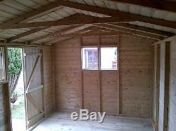 Garden Shed Tanalised Super Heavy Duty 16x8 Apex 19mm T&g. 3x2