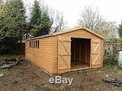 Garden Shed Workshop 20x12 Garage wooden Heavy Duty Redwood T&G Cladding