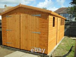 Garden Shed workshop/Garage 16X10 7ft D/D+single 3X2frame 1 floor free erect