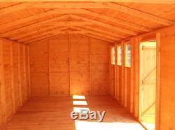 Garden Shed workshop/Garage 16X10 Apex 7ft D/D +single 3X2frame 1thick floor