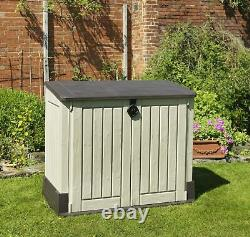 Garden Storage Box Wood Effect Keter Tools Shed Outside Beige / Brown